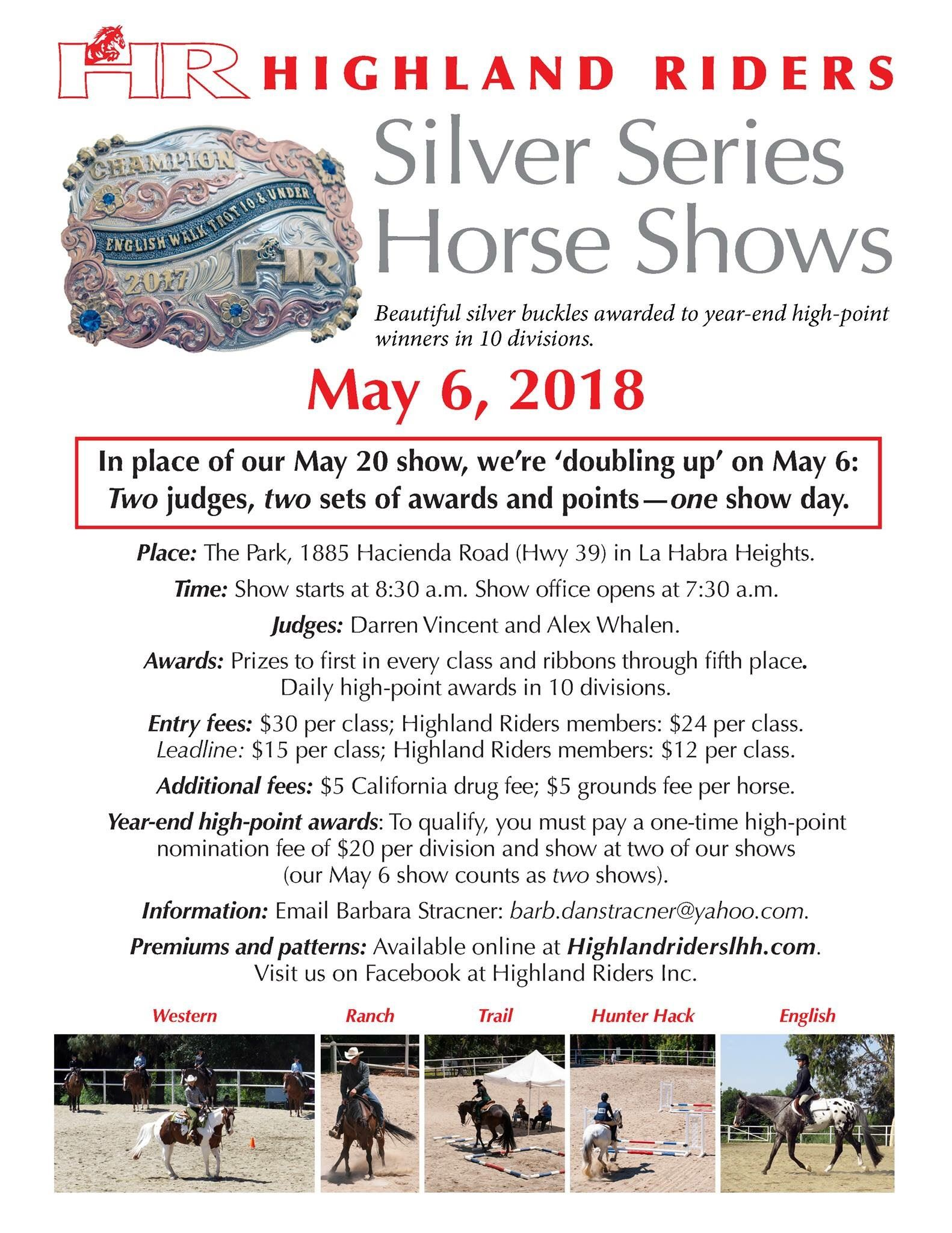 2018 05 06 Highland Riders Silver Series Horse Shows Flyer