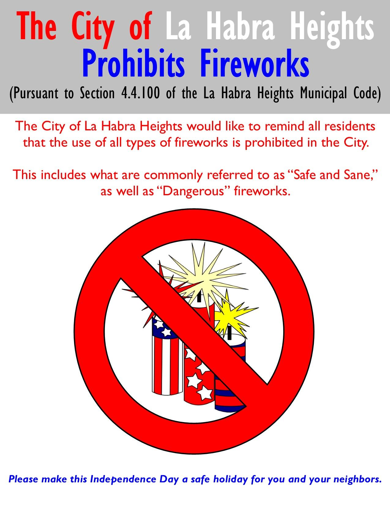 4th of July - Fireworks Prohibited