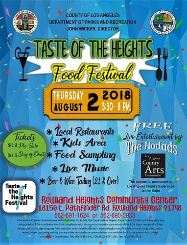 2018 Taste of the Heights Food Festival - Flyer