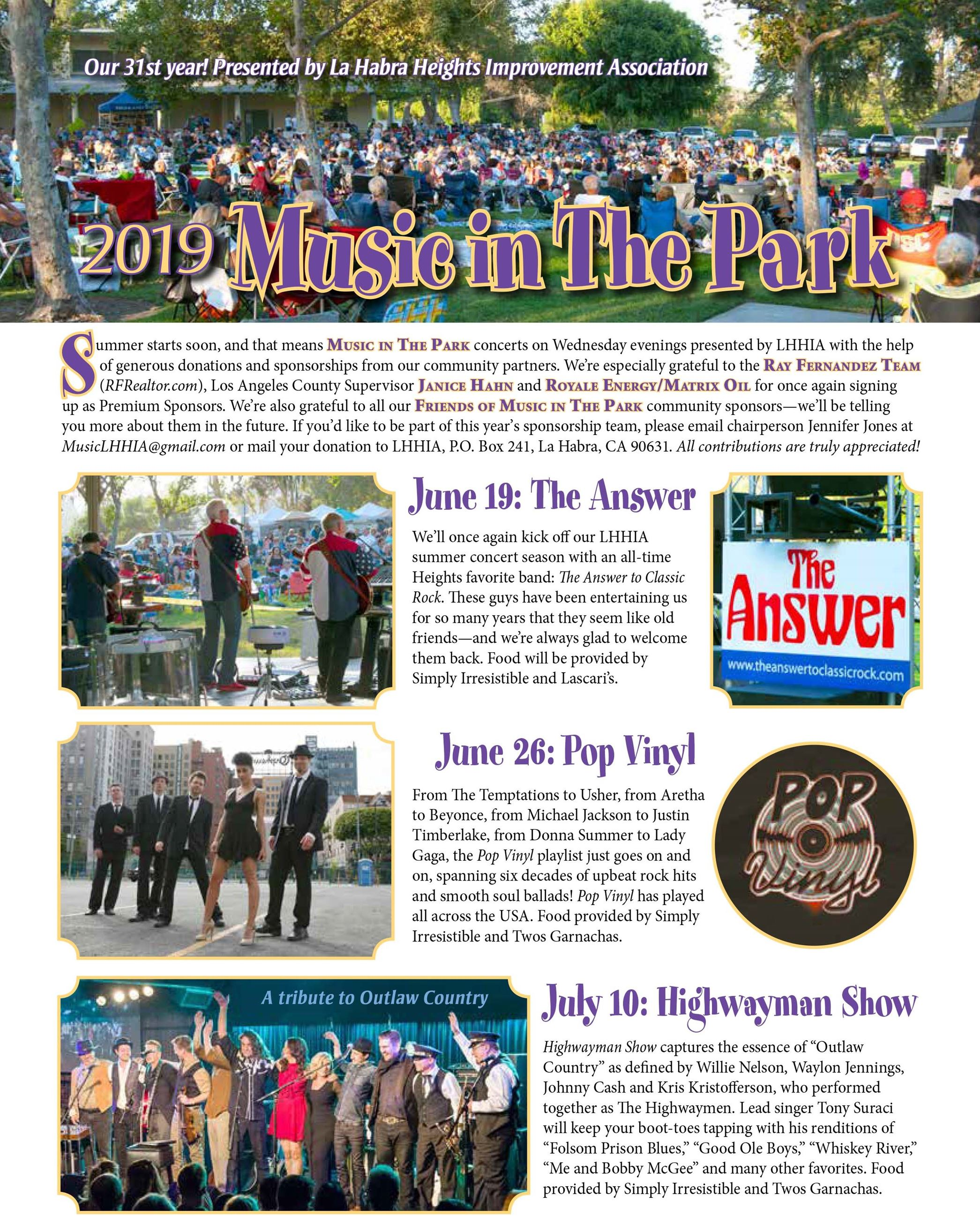 Music in The Park Flyer 1